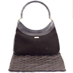 Gucci suede bamboo handle handbag